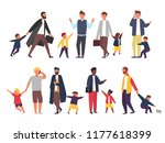busy father with naughty kids.... | Shutterstock .eps vector #1177618399