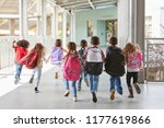 elementary school kids run from ... | Shutterstock . vector #1177619866