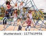 elementary school kids climbing ... | Shutterstock . vector #1177619956