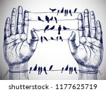 Stock vector human hands and birds on wires hand drawn vector symbolic illustration for your surreal design 1177625719