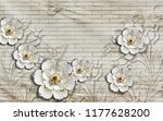 3d wallpaper design with floral ... | Shutterstock . vector #1177628200