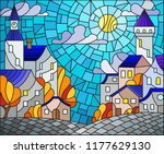 illustration in stained glass... | Shutterstock .eps vector #1177629130