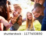 group of smiling schoolchildren ... | Shutterstock . vector #1177653850