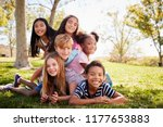 multi ethnic group of kids... | Shutterstock . vector #1177653883
