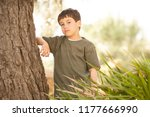 portrait of child boy in forest ... | Shutterstock . vector #1177666990