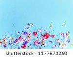 blue paper with bright confetti ... | Shutterstock . vector #1177673260