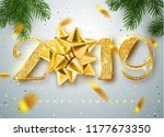2019 happy new year. gold... | Shutterstock .eps vector #1177673350