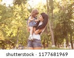 a young mother plays with her... | Shutterstock . vector #1177681969