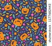 cute halloween seamless pattern.... | Shutterstock .eps vector #1177682443