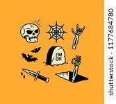 halloween icons skull bats... | Shutterstock .eps vector #1177684780