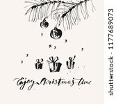 hand drawn ink christmas and... | Shutterstock .eps vector #1177689073