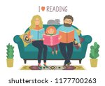 i love reading. family reads... | Shutterstock .eps vector #1177700263