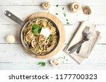 mushroom spaghetti pasta and...   Shutterstock . vector #1177700323