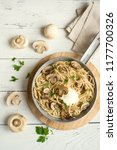 mushroom spaghetti pasta and...   Shutterstock . vector #1177700326