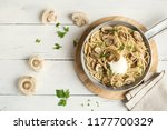 mushroom spaghetti pasta and... | Shutterstock . vector #1177700329