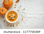 pumpkin soup and organic... | Shutterstock . vector #1177700389