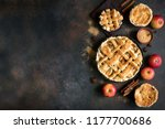 homemade apple pies on rustic... | Shutterstock . vector #1177700686