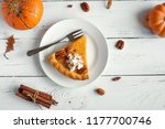 pumpkin pie with whipped cream  ... | Shutterstock . vector #1177700746