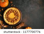 pumpkin and pecan pie with... | Shutterstock . vector #1177700776