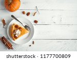 pumpkin pie with whipped cream  ... | Shutterstock . vector #1177700809
