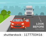 female driver getting out of a... | Shutterstock .eps vector #1177703416
