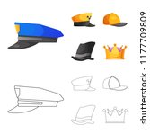 isolated object of headgear and ... | Shutterstock .eps vector #1177709809