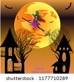 halloween. the witch flies on a ...