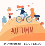 happy autumn mood. people walk... | Shutterstock .eps vector #1177713100