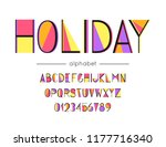 vector holiday font and... | Shutterstock .eps vector #1177716340