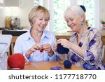 two senior female friends... | Shutterstock . vector #1177718770