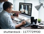 photographers are retouching... | Shutterstock . vector #1177729930