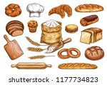 bakery sketch bread or pastry... | Shutterstock .eps vector #1177734823