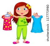 girl holding different clothes  ... | Shutterstock .eps vector #117773980