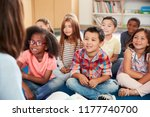 elementary school kids sit on... | Shutterstock . vector #1177740700