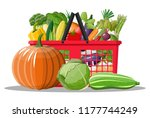 plastic shopping basket full of ... | Shutterstock .eps vector #1177744249