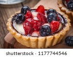 fresh homemade fruit tart with... | Shutterstock . vector #1177744546