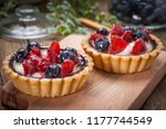 fresh homemade fruit tart with... | Shutterstock . vector #1177744549