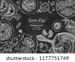 chalkboard breakfast top view... | Shutterstock .eps vector #1177751749