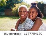 senior black woman and... | Shutterstock . vector #1177754170
