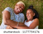 black girl and grandmother... | Shutterstock . vector #1177754176