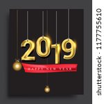 new year 2019 golden colored... | Shutterstock .eps vector #1177755610