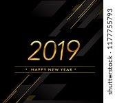 happy new year 2019 text design ... | Shutterstock .eps vector #1177755793