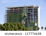 Construction of a high rise apartment building - stock photo