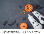 halloween holiday concept with... | Shutterstock . vector #1177767949