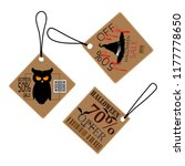 halloween sale text on tag... | Shutterstock .eps vector #1177778650