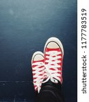 selfie of red sneakers on... | Shutterstock . vector #1177783519