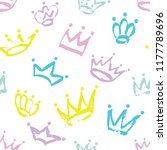 hand drawn seamless crown... | Shutterstock .eps vector #1177789696