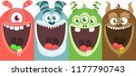 cartoon monsters set. vector... | Shutterstock .eps vector #1177790743