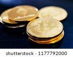 golden bitcoin and mound of... | Shutterstock . vector #1177792000