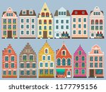 set of european colorful old... | Shutterstock .eps vector #1177795156